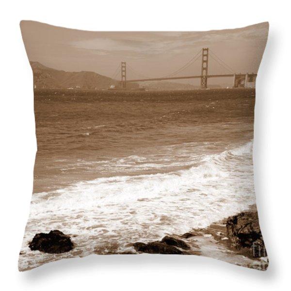 Golden Gate Bridge with Shore - Sepia Throw Pillow by Carol Groenen