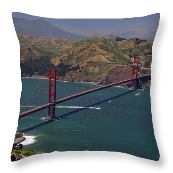 Golden Gate Throw Pillow by Donna Blackhall