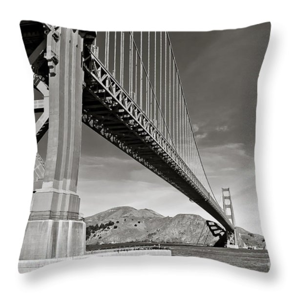 Golden Gate from the Water - BW Throw Pillow by Darcy Michaelchuk