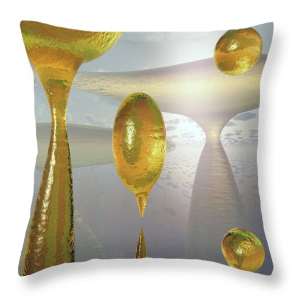Golden Globs Throw Pillow by Richard Rizzo