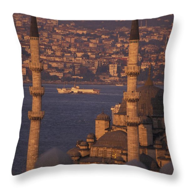 Golden Horn At Sunset From Suleymaniye Throw Pillow by Richard Nowitz