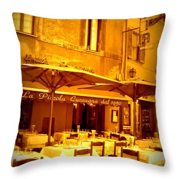 Golden Italian Cafe Throw Pillow by Carol Groenen