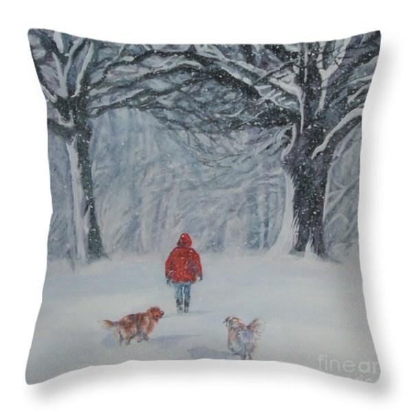 Golden Retriever Winter Walk Throw Pillow by Lee Ann Shepard