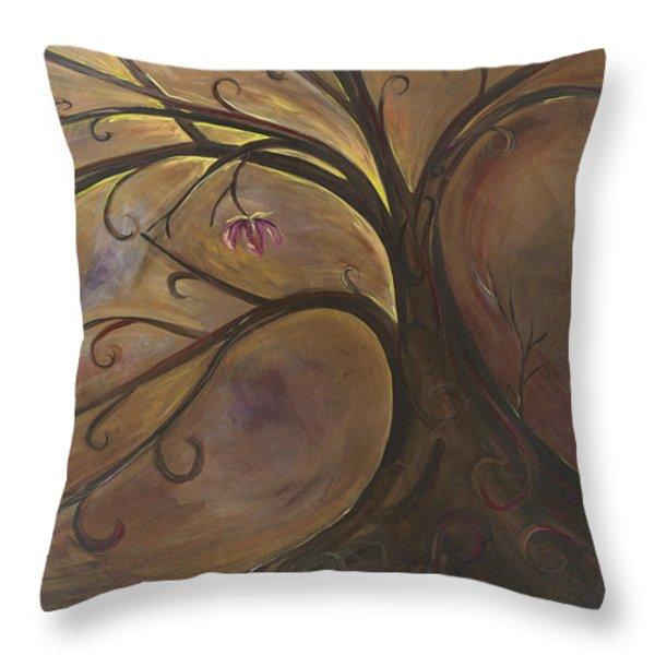 Golden Tree Of Life Throw Pillow by Karen Ahuja