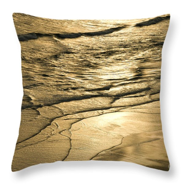 Golden Waves Throw Pillow by Cindy Tiefenbrunn
