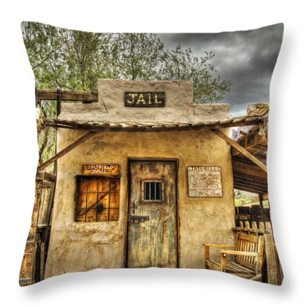 Goldfield Ghost Town - Jail  Throw Pillow by Saija  Lehtonen