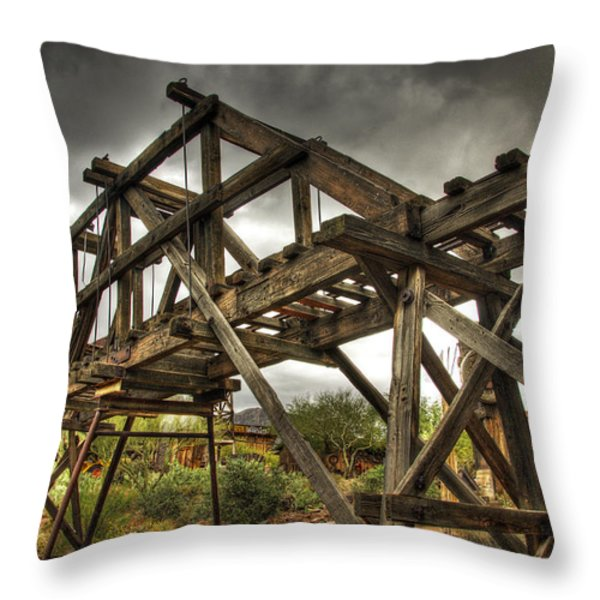 Goldfield Ghost Town - The Bridge Throw Pillow by Saija  Lehtonen