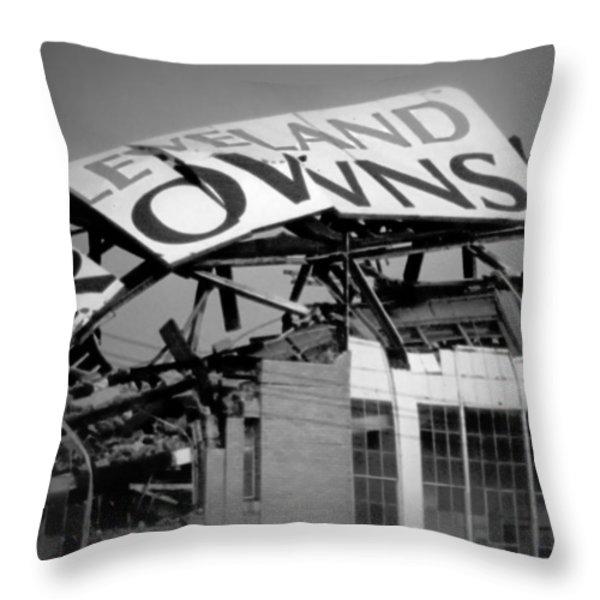 Goodbye Cleveland Stadium Throw Pillow by Kenneth Krolikowski