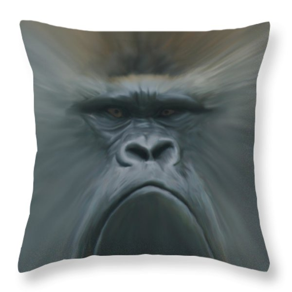 Gorilla Freehand Abstract Throw Pillow by Ernie Echols