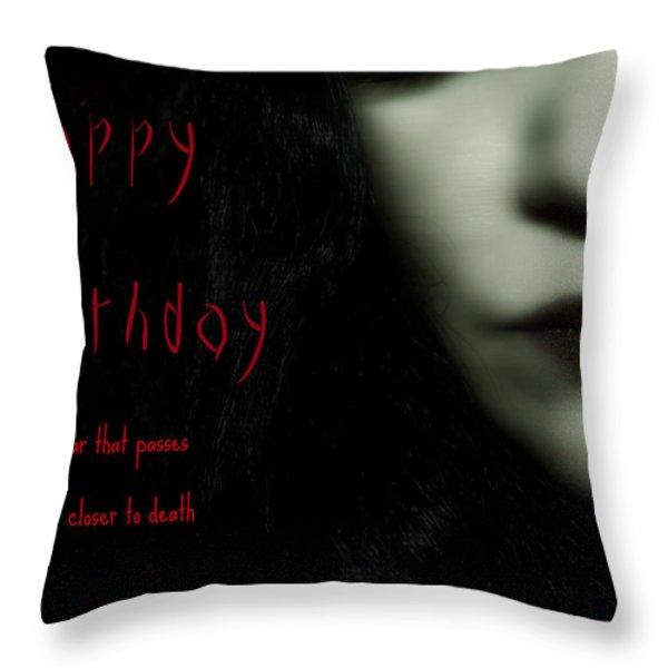 Goth Birthday Card Throw Pillow by Lisa Knechtel