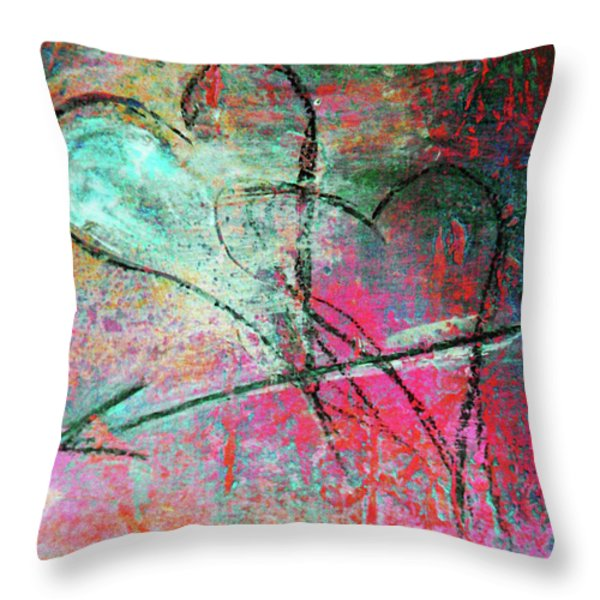Graffiti Hearts Throw Pillow by Anahi DeCanio