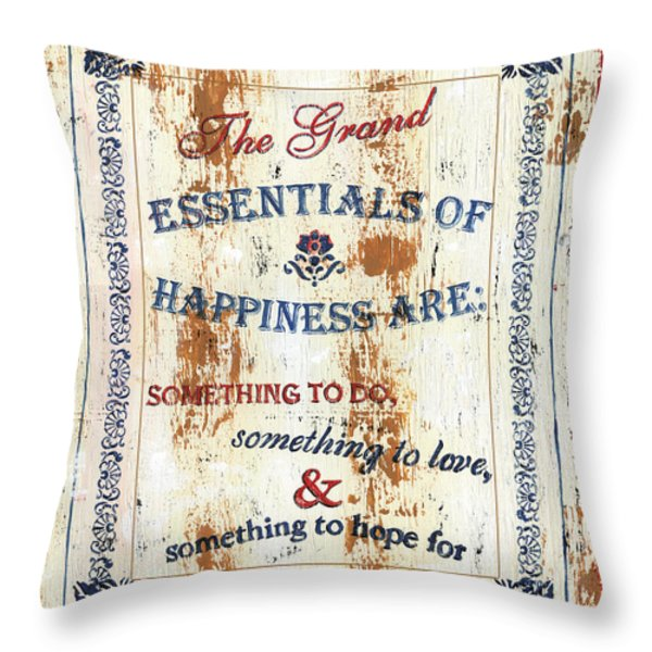 Grand Essentials of Happiness Throw Pillow by Debbie DeWitt