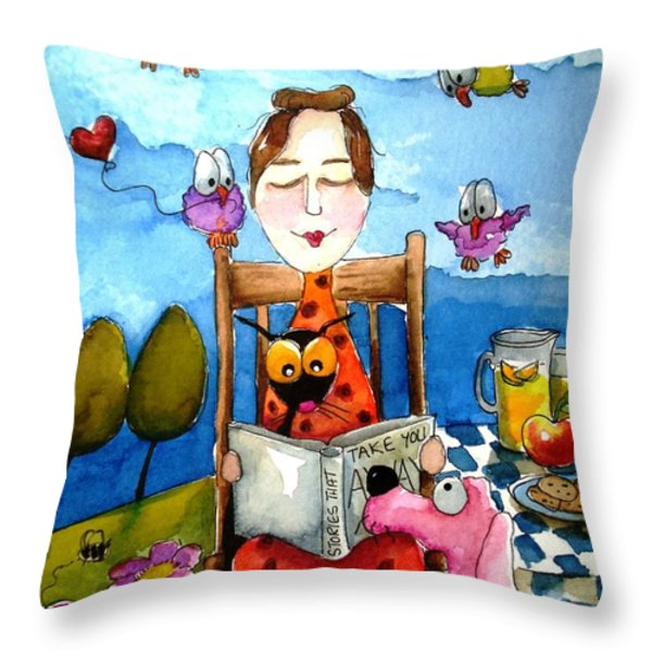 Grandma's Story Time Throw Pillow by Lucia Stewart