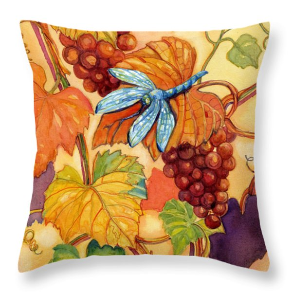 Grapes And Dragonfly Throw Pillow by Peggy Wilson