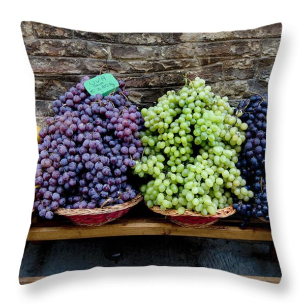 Grapes And Nectarines On A Bench Throw Pillow by Todd Gipstein