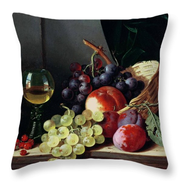 Grapes And Plums Throw Pillow by Edward Ladell