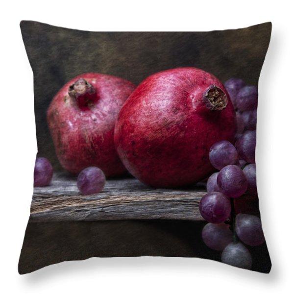 Grapes With Pomegranates Throw Pillow by Tom Mc Nemar