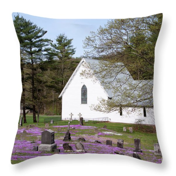 Graveyard Phlox Country Church Throw Pillow by John Stephens