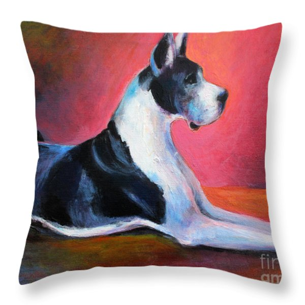 Great Dane Painting Svetlana Novikova Throw Pillow by Svetlana Novikova