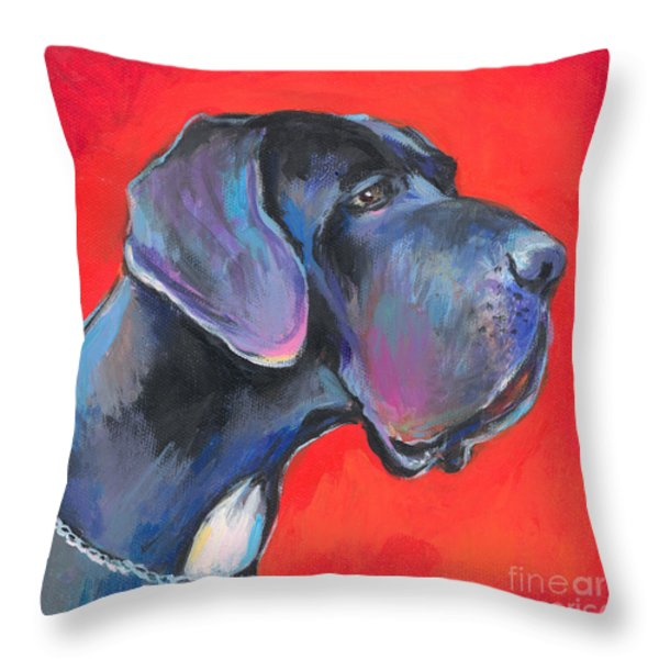 Great dane painting Throw Pillow by Svetlana Novikova