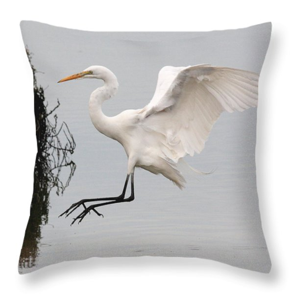 Great White Egret Landing On Water Throw Pillow by Wingsdomain Art and Photography