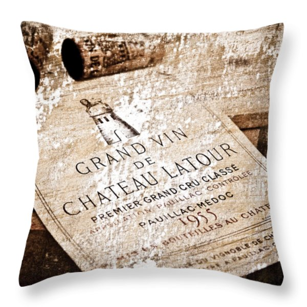 Great Wines Of Bordeaux - Chateau Latour 1955 Throw Pillow by Frank Tschakert
