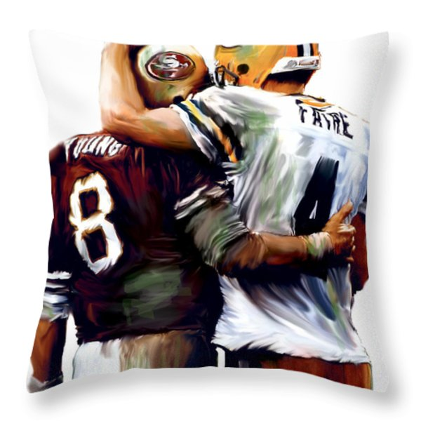 Greatness  Brett Favre and Steve Young  Throw Pillow by Iconic Images Art Gallery David Pucciarelli