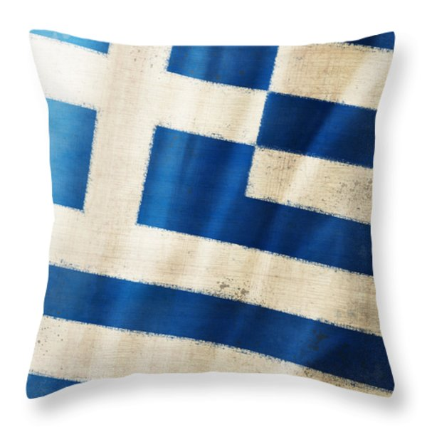 Greece flag Throw Pillow by Setsiri Silapasuwanchai