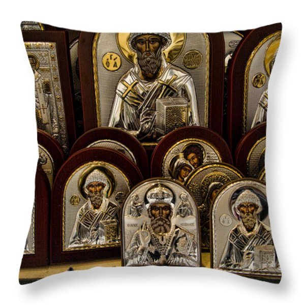 Greek Orthodox Church Icons Throw Pillow by David Smith