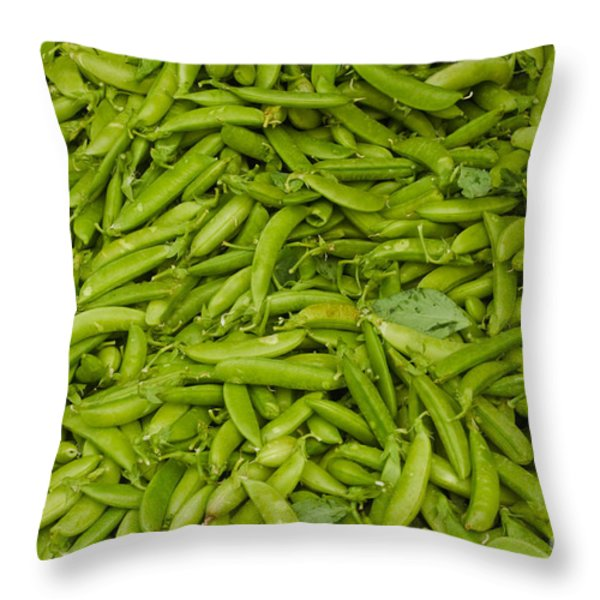 Green Beans Throw Pillow by Thomas Marchessault
