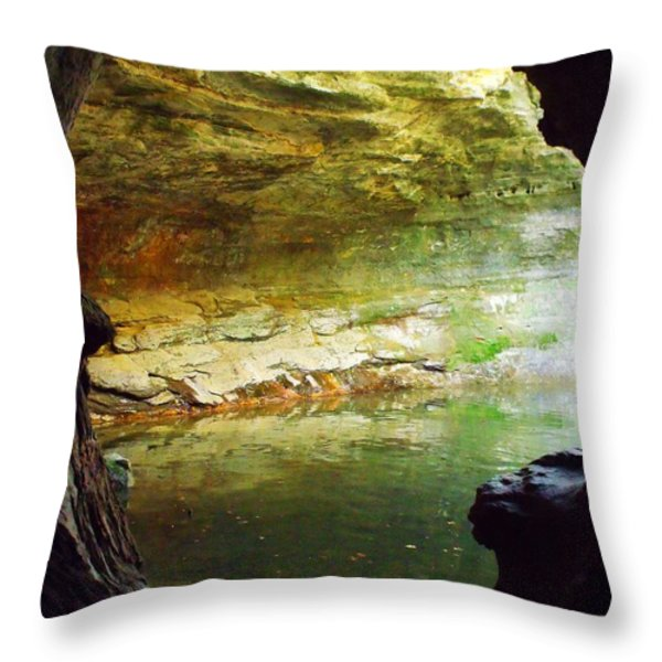 Green Cave II Throw Pillow by Anna Villarreal Garbis