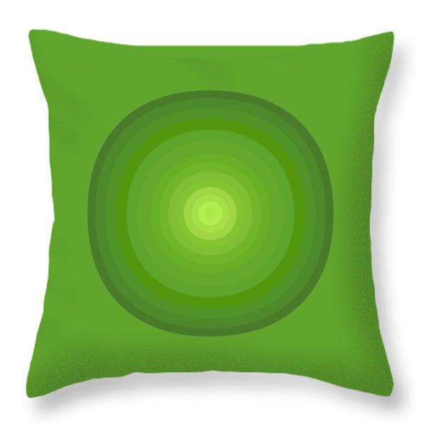 Green Circles Throw Pillow by Frank Tschakert