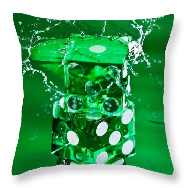 Green Dice Splash Throw Pillow by Steve Gadomski