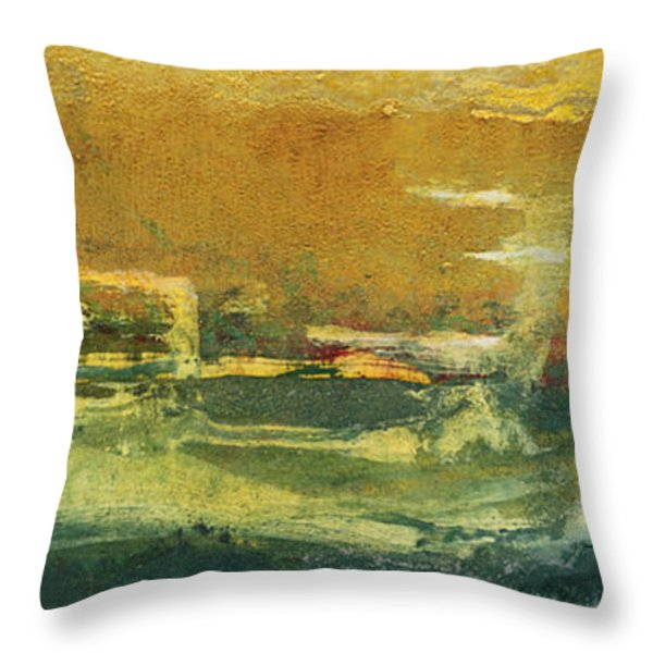 Green Edge Throw Pillow by Pat Saunders-White