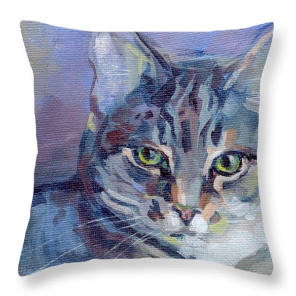 Green Eyed Tabby - Thomasina Throw Pillow by Kimberly Santini