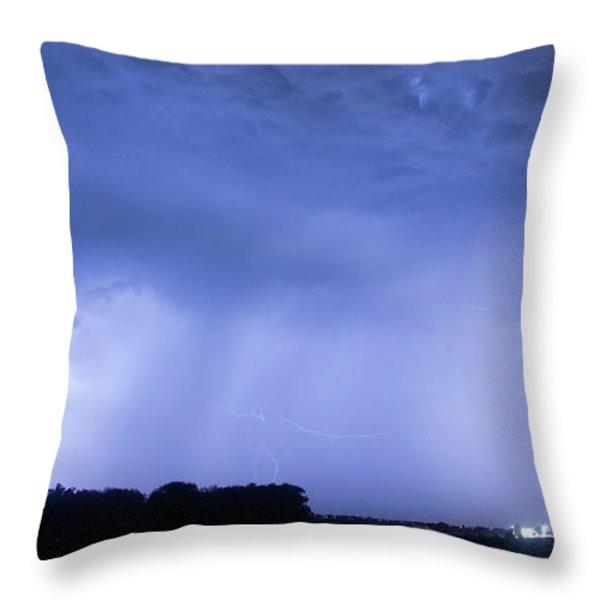Green Lightning Bolt Ball and Blue Lightning Sky Throw Pillow by James BO  Insogna