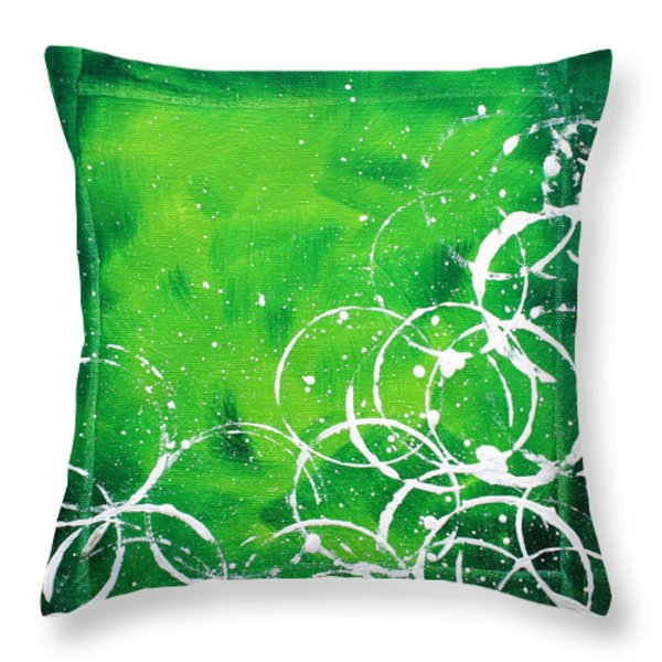 Green Riches By Madart Throw Pillow by Megan Duncanson