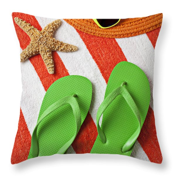 Green Sandals On Beach Towel Throw Pillow by Garry Gay