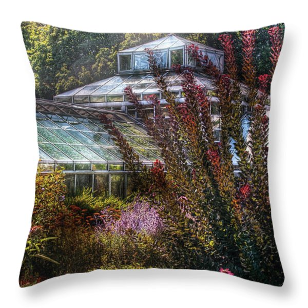 Greenhouse - The Greenhouse Throw Pillow by Mike Savad