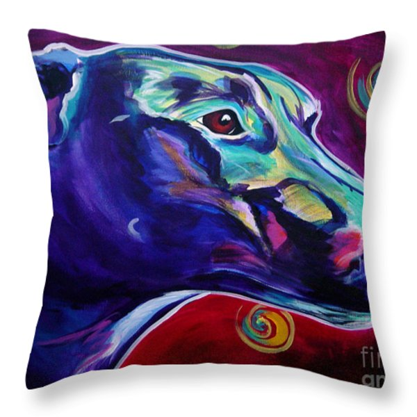 Greyhound -  Throw Pillow by Alicia VanNoy Call
