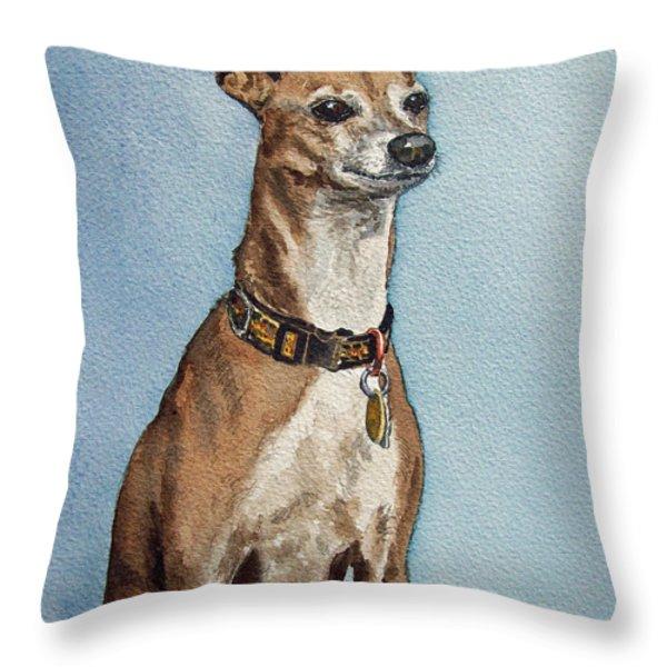 Greyhound Throw Pillow by Irina Sztukowski
