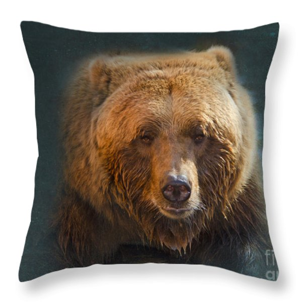 Grizzly Bear Portrait Throw Pillow by Betty LaRue