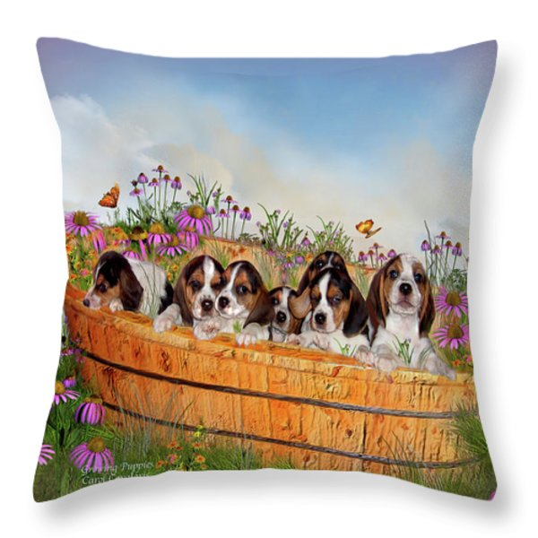 Growing Puppies Throw Pillow by Carol Cavalaris