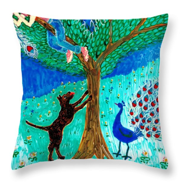 Guard Dog And Guard Peacock  Throw Pillow by Sushila Burgess