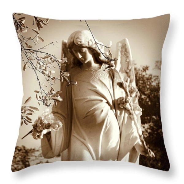 Guardian Angel Bw Throw Pillow by Susanne Van Hulst