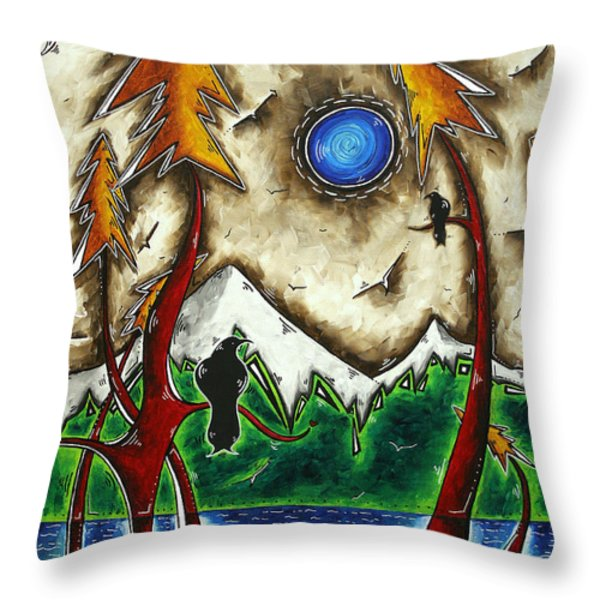 Guardians Of The Wild Original Madart Painting Throw Pillow by Megan Duncanson