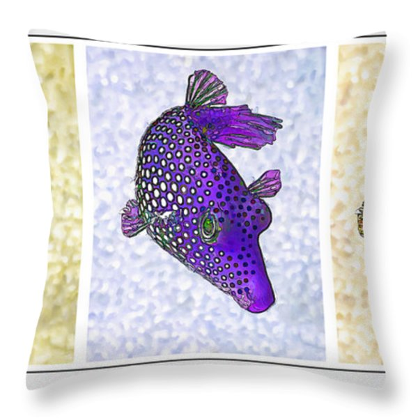 Guinea Fowl Puffer Fish Triptych Throw Pillow by Bill Caldwell -        ABeautifulSky Photography