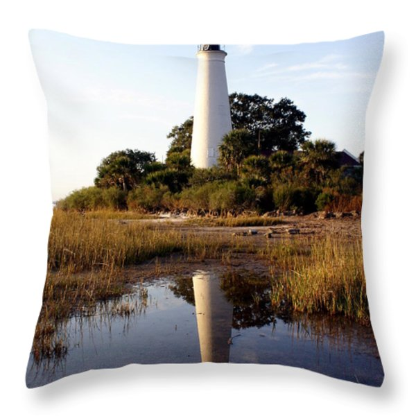 Gulf Coast Lighthouse Throw Pillow by Marty Koch