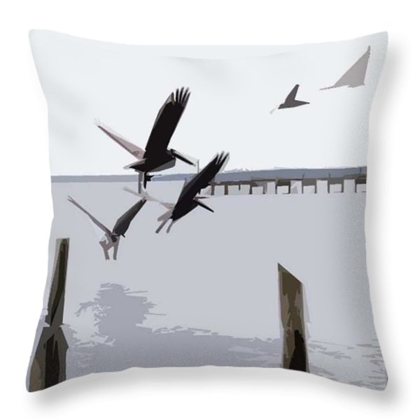 Gulf Shores Pelicans Throw Pillow by Kay Sawyer