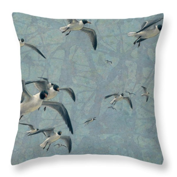 Gulls Throw Pillow by James W Johnson